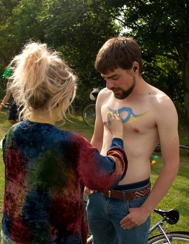 Black naked naked man body paint biggie handjob cum
